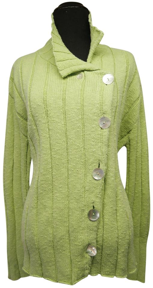 Asymmetrical Cardigan Wmother Of Pearl Buttons Green Sweater Tradesy