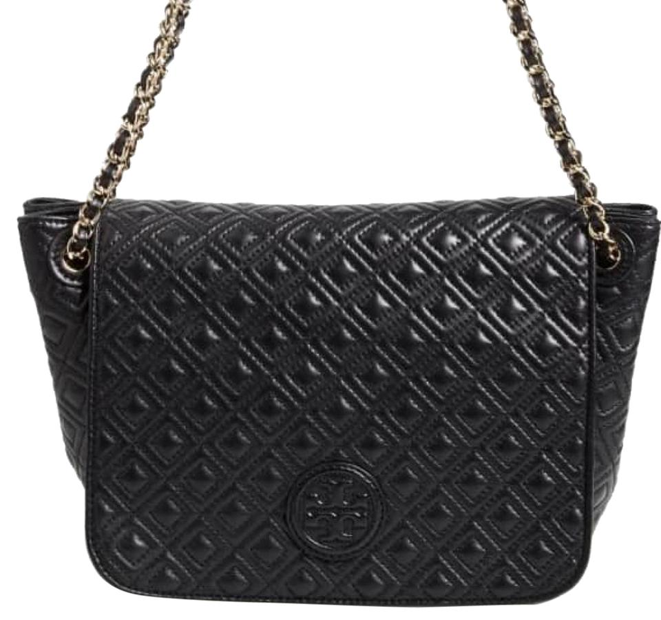 7073f3997c4fe Tory Burch Marion Small Black Leather Shoulder Bag - Tradesy