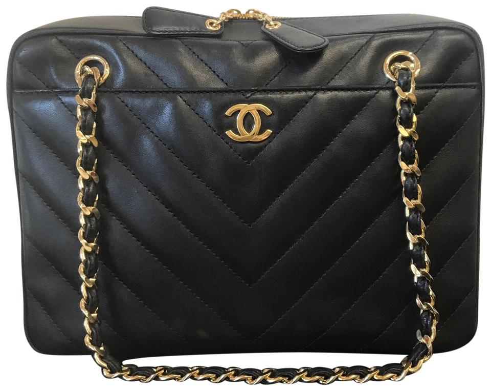 90915ce5 Chanel Camera Case Chevron Quilted Black Leather Shoulder Bag 37% off retail