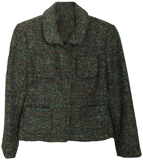 Item - Teal Brown Black Tweed Jacket Blazer Size 6 (S)
