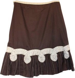 Odille Anthropologie Skirt Brown with Cream Pinwheels