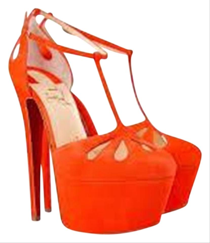 hot sale online e3930 fb1d2 Christian Louboutin Orange Amyada 160 Suede T Strap Sandals Heels Platforms  Size EU 37.5 (Approx. US 7.5) Regular (M, B) 53% off retail