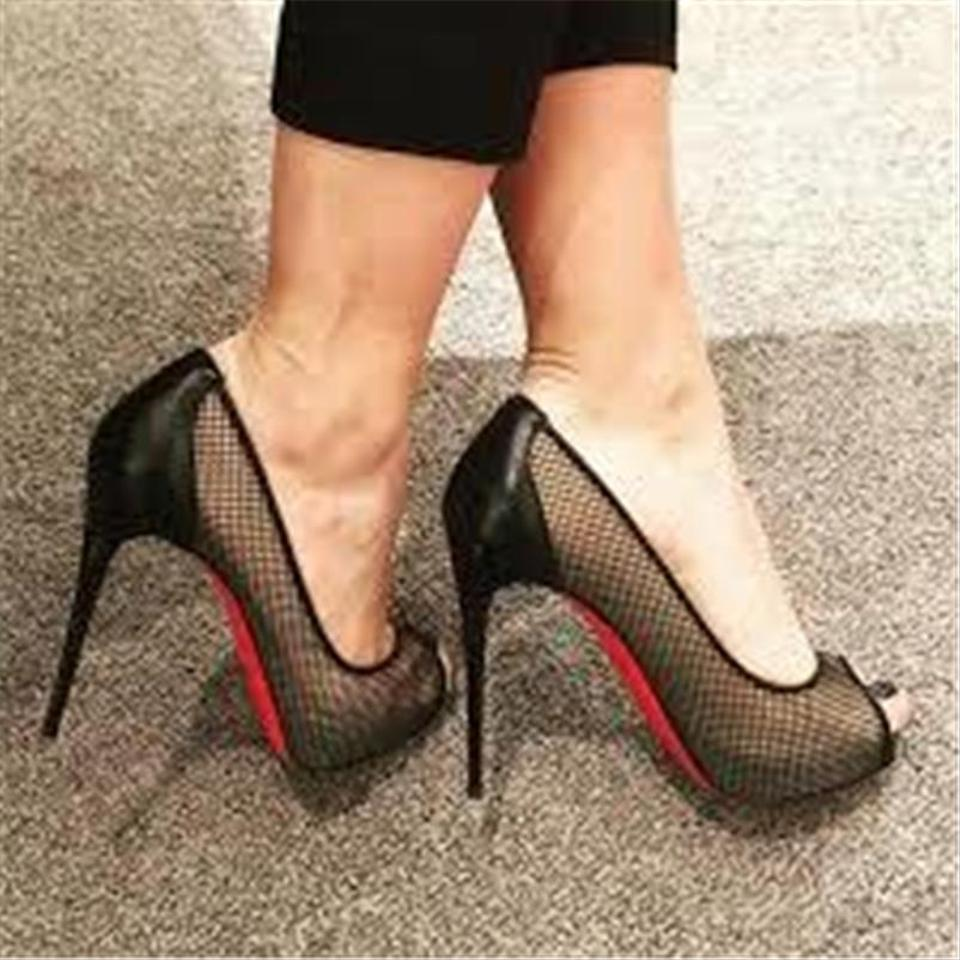 wholesale dealer fb041 6537f Christian Louboutin Black Very Rete 120 Fishnet Peep Toe Pumps Heels  Platforms Size EU 36 (Approx. US 6) Regular (M, B) 26% off retail