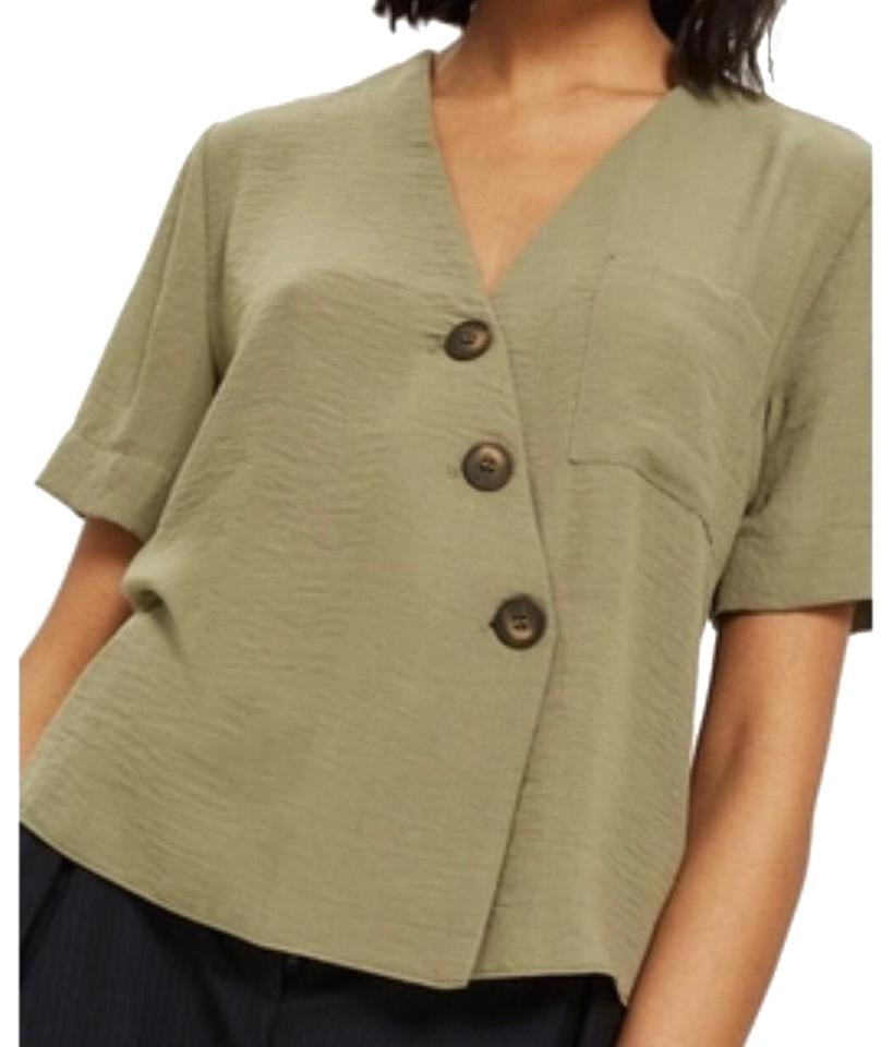 5cd5e37be60d Topshop Green Blouse Button-down Top Size 10 (M) - Tradesy