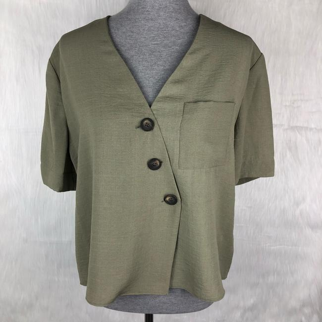 Topshop Button Down Shirt Green Image 1