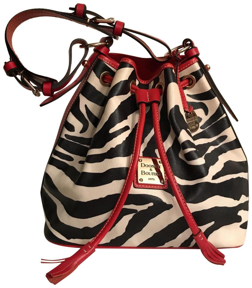 49508a6445a5 Dooney   Bourke Bucket Drawstring Zebra Serengeti Protected Coated Leather  Trim Black White Red Canvas Hobo Bag