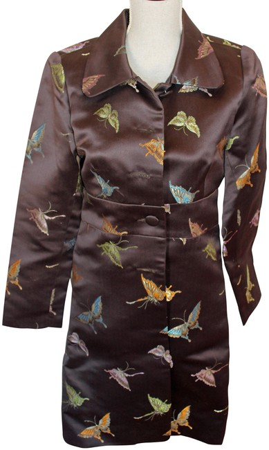 Item - Brown Satin with Butterflies Opera Jacket Size 6 (S)