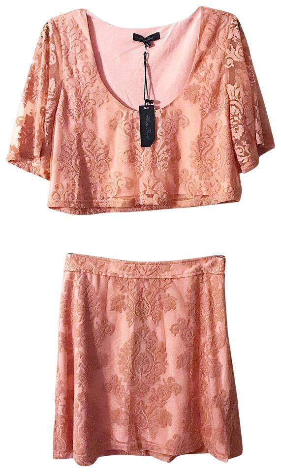 6c72f3b8601b Honey Punch Coral Lace 2 Piece Crop Top Skirt Set Short Night Out ...