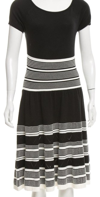 Item - Black and Cream/White Abstract Knit Midi Mid-length Casual Maxi Dress Size 4 (S)