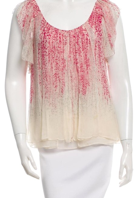 Item - Pink and Cream Silk Printed Blouse Size 0 (XS)