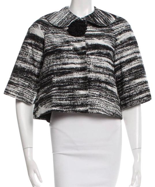 Item - Black and White Three Quarter Sleeve Jacket Blazer Size 2 (XS)