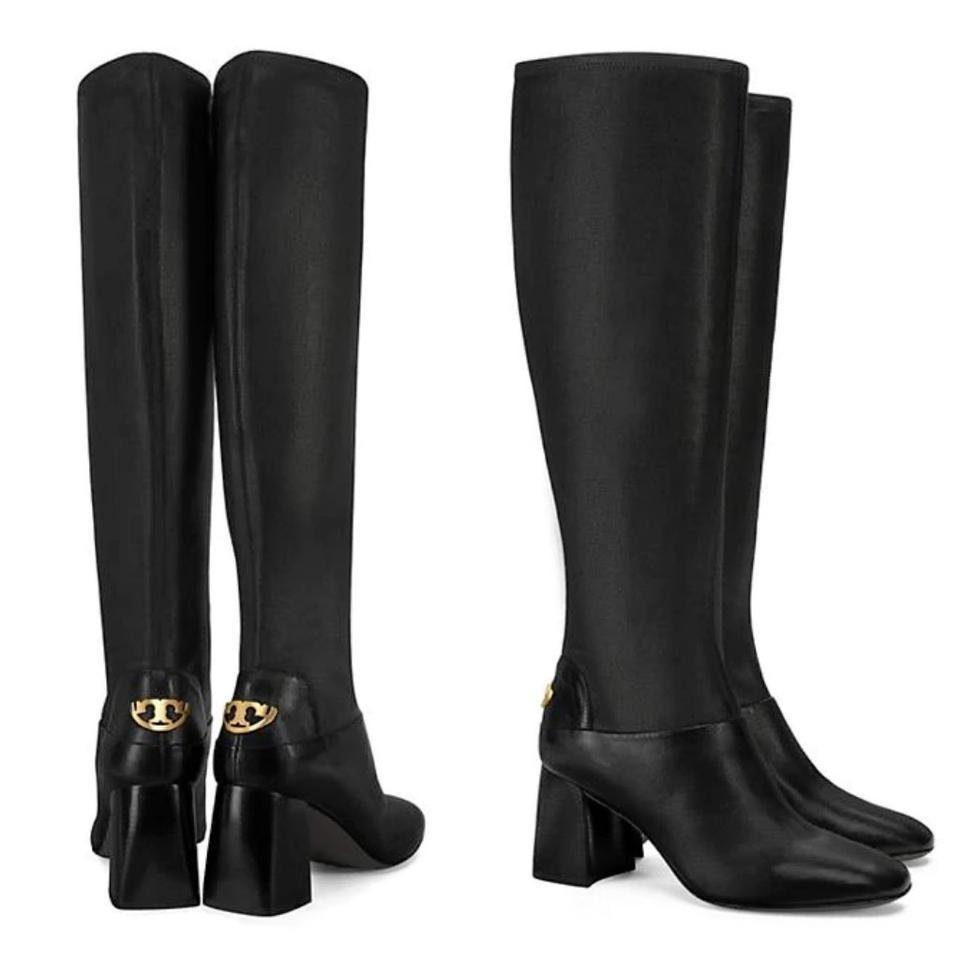 fc991eae1b2b2 Tory Burch Black Sidney Mid-heel Stretch Leather Boots Booties Size ...