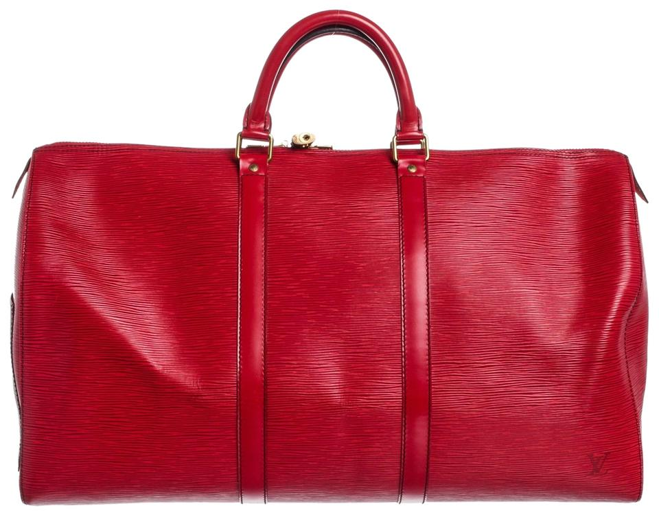 19da6c108a93 Louis Vuitton Duffle Keepall 50 Cm Luggage Red Epi Leather Weekend ...