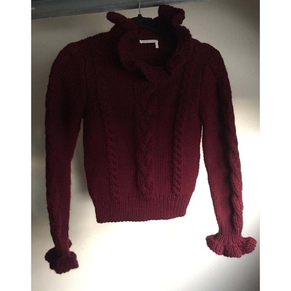 8ef19c56 See by Chloé Ruffle Collar Frilled Cable Knit Dawn Red Sweater 80% off  retail