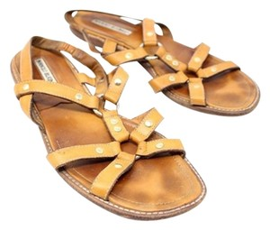 Manolo Blahnik Gladiator Leather Tan Sandals