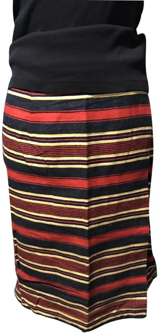 Item - Navy Red Yellow Above The Knee Wrap Skirt Size 14 (L, 34)