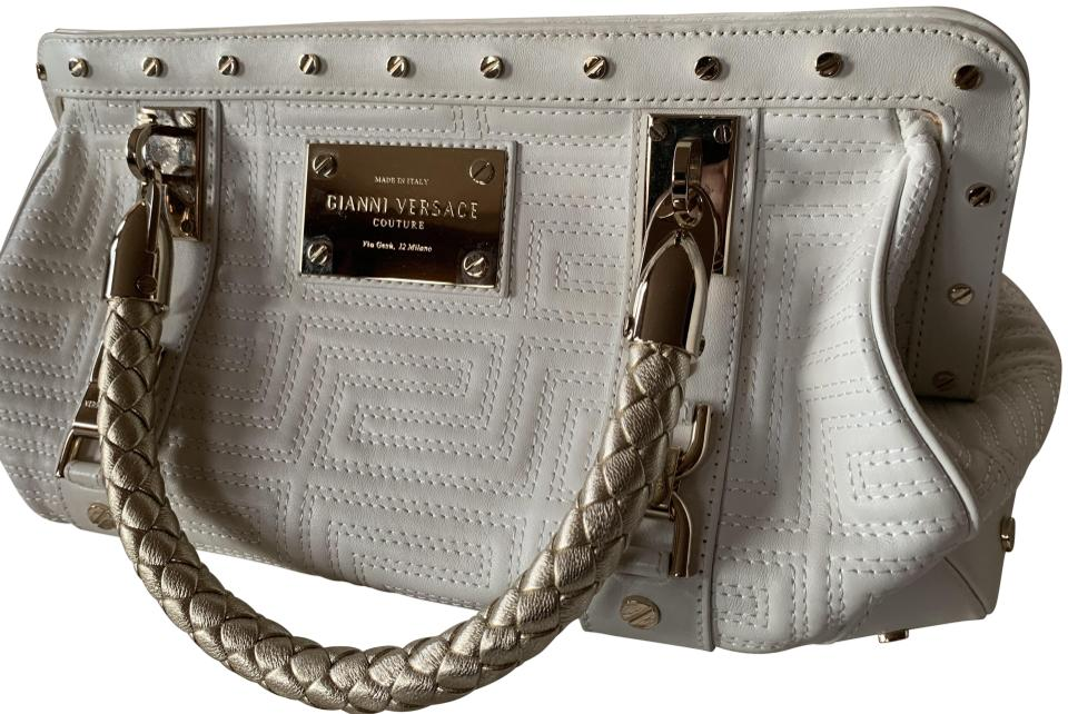 b56d6e0017 Versace Couture Collection White Leather Clutch 75% off retail