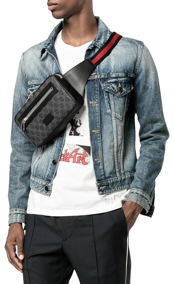 enjoy complimentary shipping the sale of shoes how to purchase Gucci Belt Monogram Web Fanny Pack Waist Pouch 6gj0111 Black Coated Canvas  Cross Body Bag 5% off retail