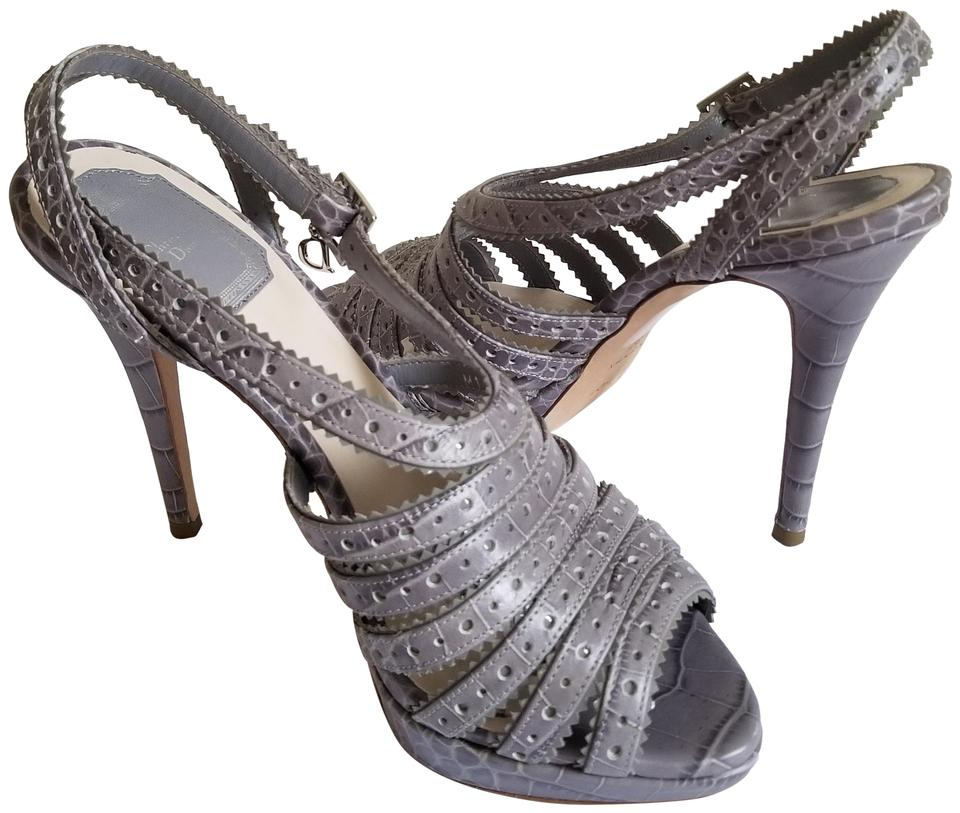 3ca799a9b3b Dior Grey Christian Open Toe Strappy Platform Stiletto Heels Sandals ...