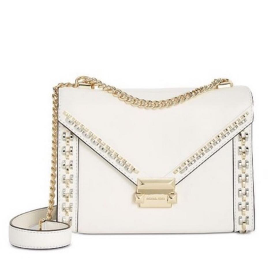 abeca74a8bf5 MICHAEL Michael Kors Whitney Studded Frame Optic White Leather Shoulder Bag