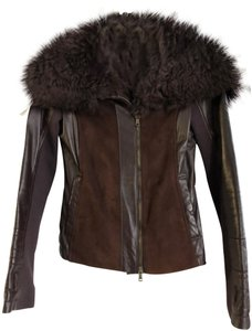Patrizia Pepe Suede Fur plum Leather Jacket