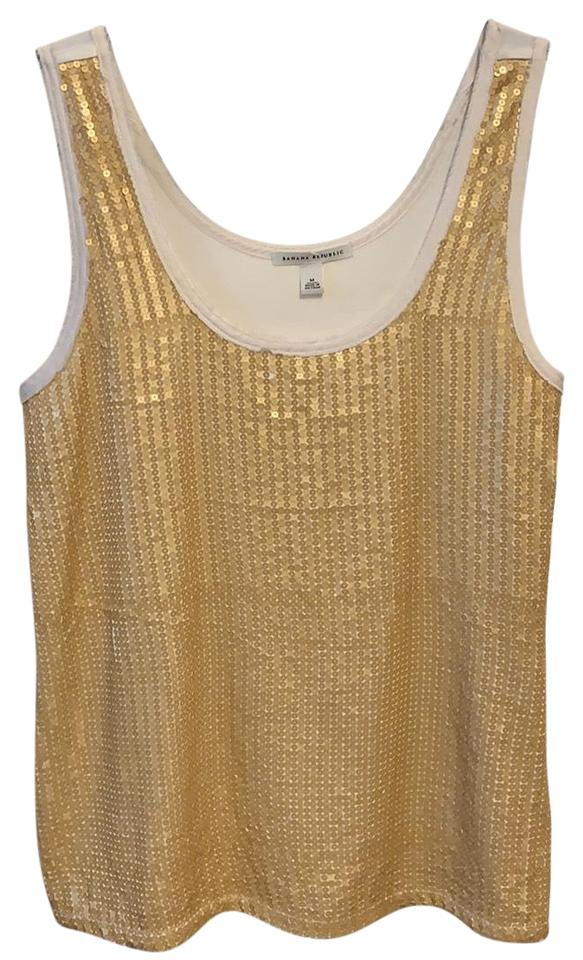 3c28d70968959 Banana Republic Gold Sequence Front Camisole Tank Top Cami Size 8 (M ...
