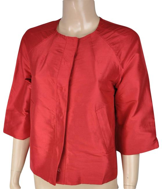 Item - Red Silk Shimmering Cape Jacket Coat Size Petite 2 (XS)