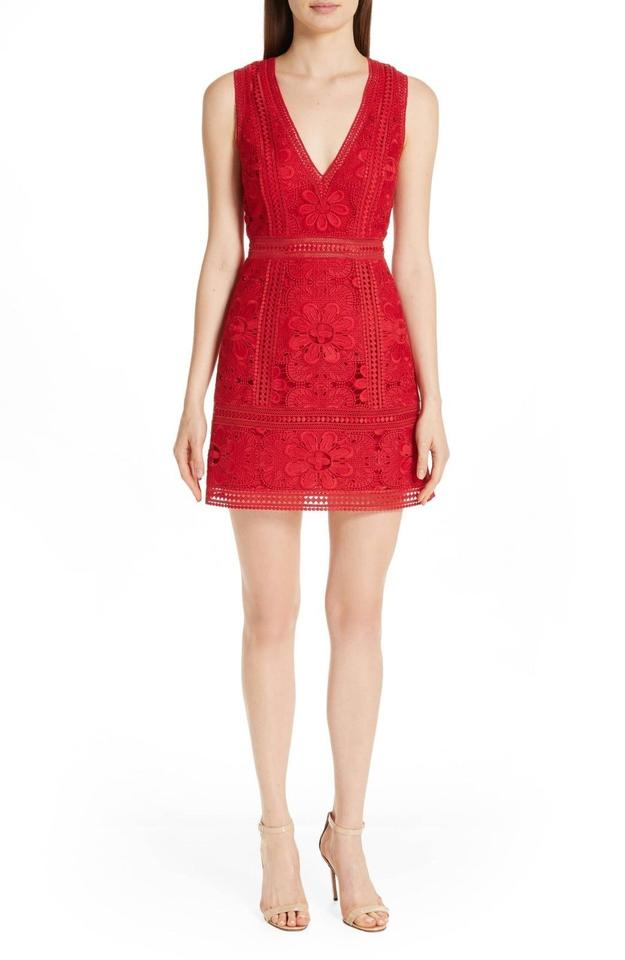 026ed1acbc24 Alice + Olivia Red Zula Lace Party Valentine's Day New 2019 Short ...