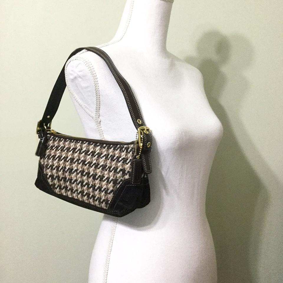 Coach Houndstooth Tweed 10202 Vintage Brown Wool Blend Shoulder Bag -  Tradesy 404a9ac841f0e