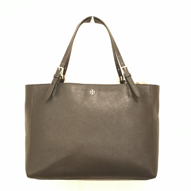 Item - Lg York Buckle Laptop Saffiano Black Gold Leather Tote