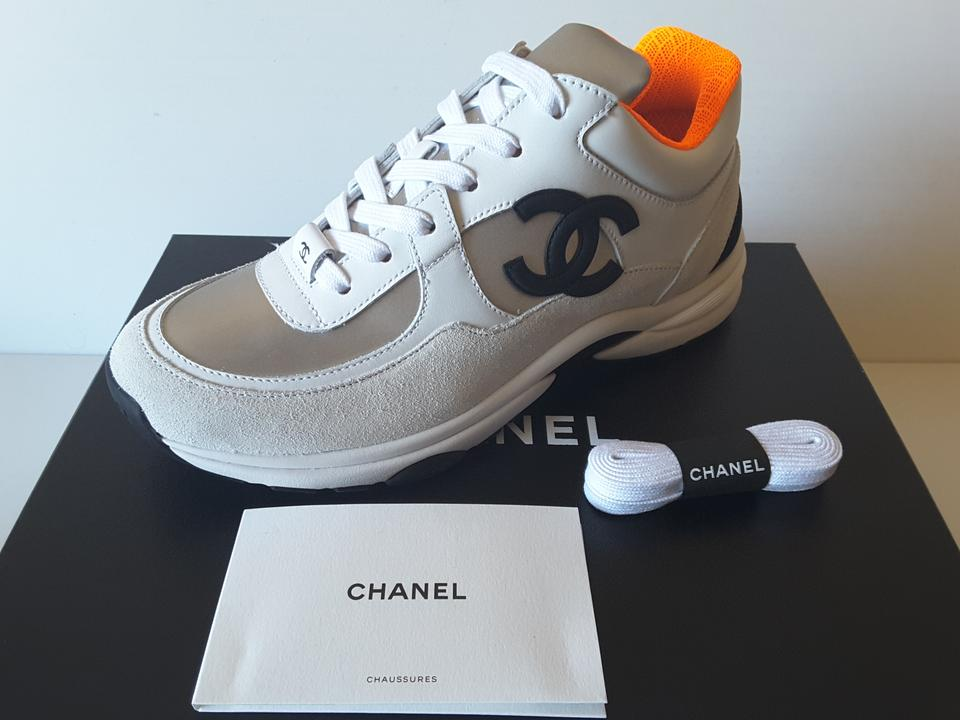 Silver/Orange Trainers Leather Sneakers