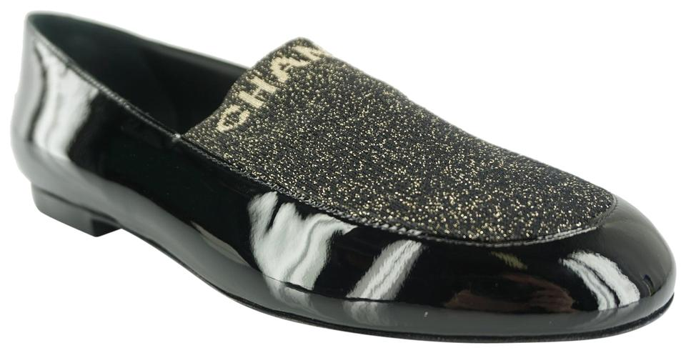 dcd00ca89 Chanel Black 17b Patent Gold Fabric Sock Cc Logo Slide Loafer Flats ...