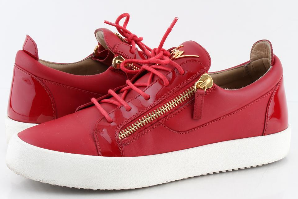 230bfb597cdd Giuseppe Zanotti Red Men s London Double-zip Leather Low-top Sneakers Shoes  Image 0 ...