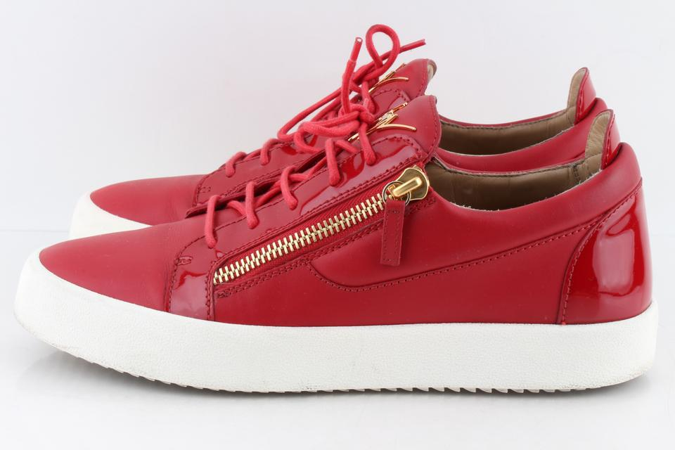 2c38bc2c736 Giuseppe Zanotti Red Men s London Double-zip Leather Low-top Sneakers Shoes  Image 11. 123456789101112