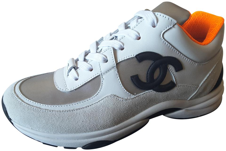 Chanel White/Silver/Orange Trainers Leather Sneakers Size EU 41.5 (Approx.  US 11.5) Regular (M, B)