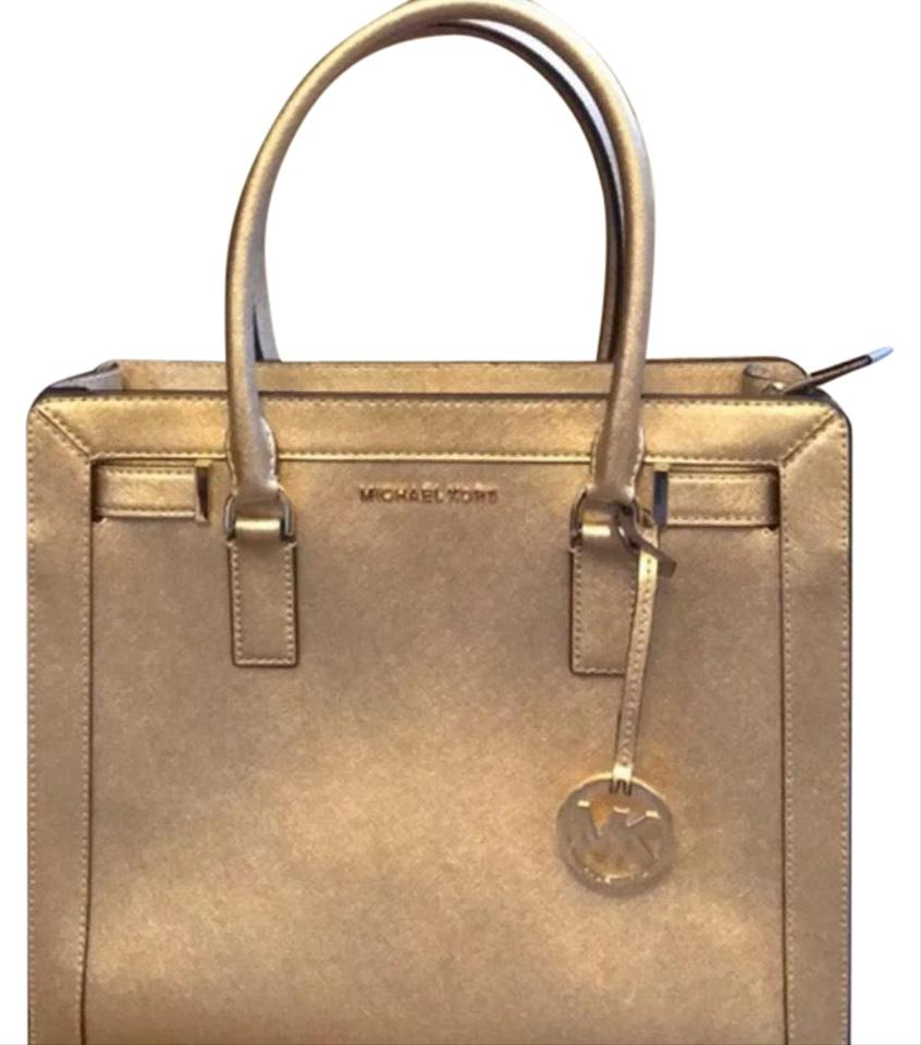 664a6d488c0d Michael Kors Tm East West Medium Gold Leather Satchel - Tradesy