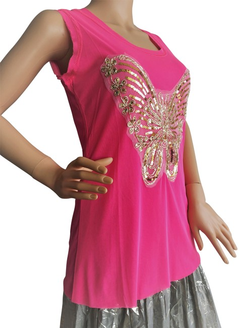Item - Neon Pink Butterfly Tank Top/Cami Size 10 (M)
