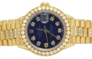 Rolex Ladies 18K Presidential Datejust 26MM Blue Dial Diamond 8.0 Ct