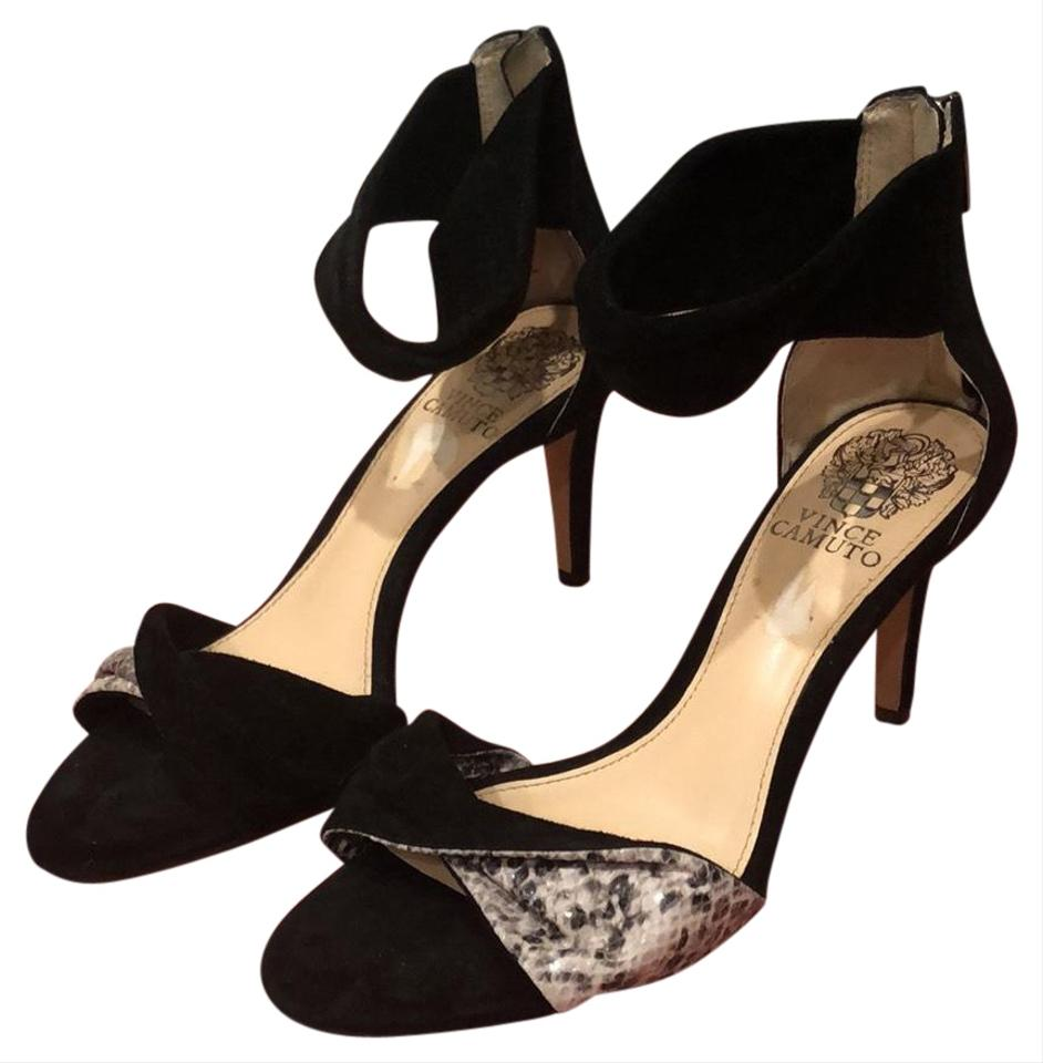 e60595d3c03 Vince Camuto Black Suede and Snake Skin Strappy Sandals Pumps Size ...