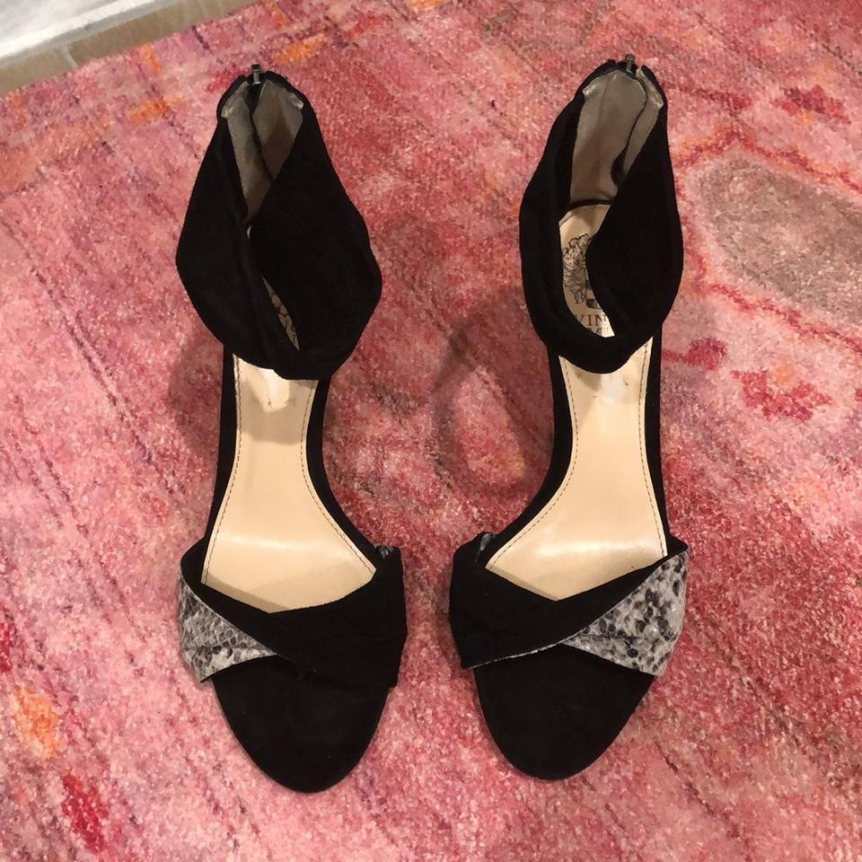 c69778c1d88 Vince Camuto Black Suede and Snake Skin Strappy Sandals Pumps Size US 7.5  Regular (M