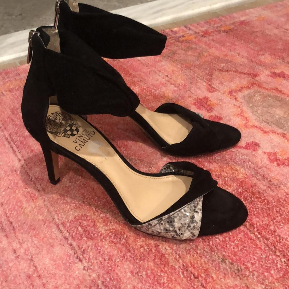ff65770dc79 Vince Camuto Black Suede and Snake Skin Strappy Sandals Pumps Size ...