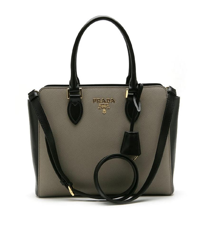 fdbe30492b52 Prada Saffiano Argilla Nero Two-toned Black and Handbag 1 Gray ...