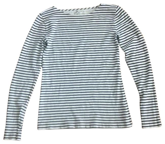 Item - Black and White Artist Striped Long Sleeve Tee Shirt Size 6 (S)