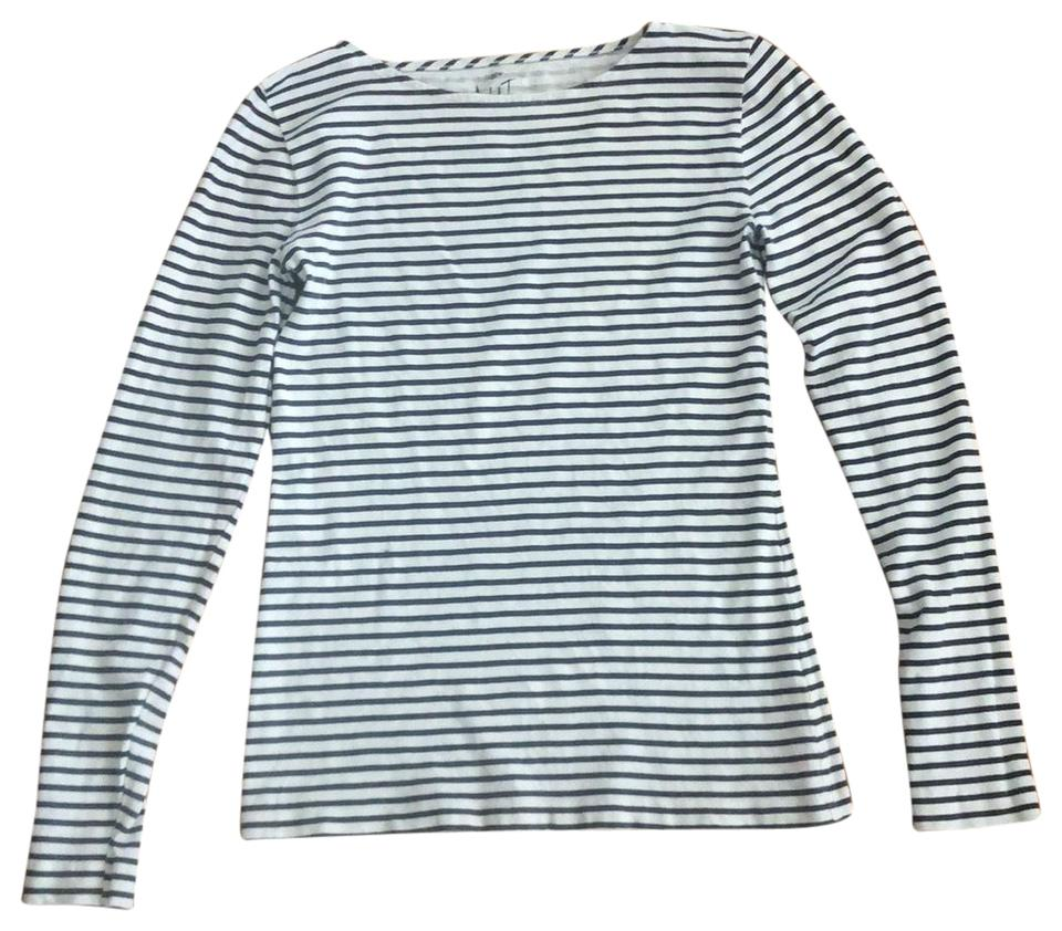 a944d18cea J.Crew Black and White Artist Striped Long Sleeve Tee Shirt Size 6 ...