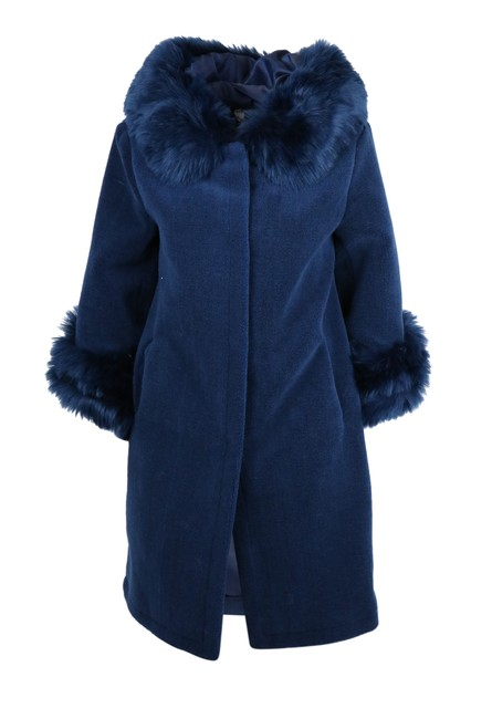 Item - Blue Trimmed Shearling Coat Size 14 (L)