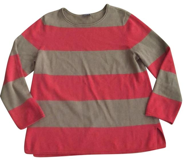 Item - Coral and Beige Pullover Wide Striped Tunic Size Petite 8 (M)