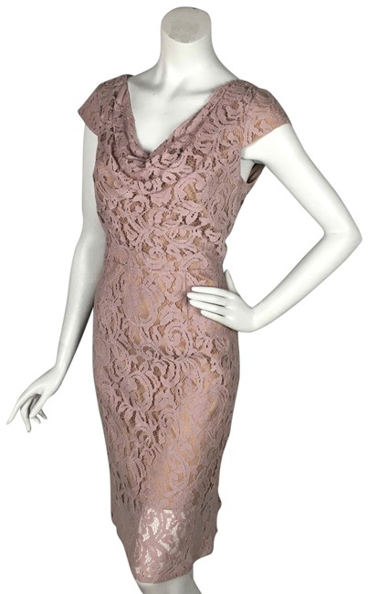 Item - Light Dusty Pink Lace Draped Neck Cut Out Back Mid-length Cocktail Dress Size 10 (M)