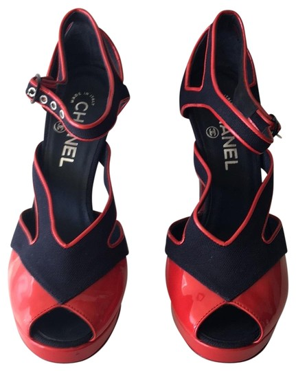 Chanel Red, Blue Platforms Image 0