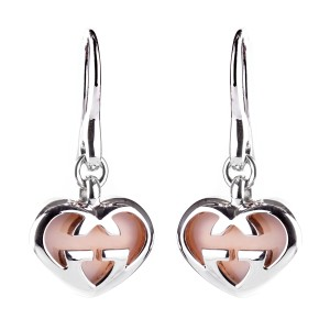 Gucci Gucci Pink Opal Double G Silver Heart Earrings