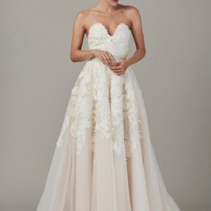 Lela Rose White/Cream Chiffon with Lace Appliqués The Beausoleil By Formal Wedding Dress Size 4 (S)